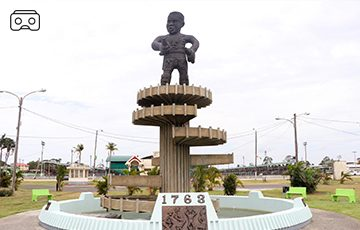 THE 1763 MONUMENT PROUDLY STANDS in the Square of the Revolution in the Guyanese capital of Georgetown. Unveiled in 1976, it commemorates the Berbice Slave Rebellion of 1763, a major event in Guyana's anti-colonial struggles.